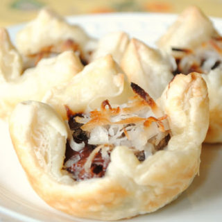 Nutella, Banana and Coconut Puff Pastry Cups