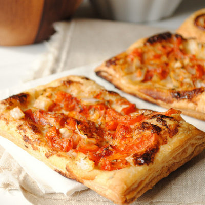 Bleu Cheese and Tomato Puff Pastry Tarts