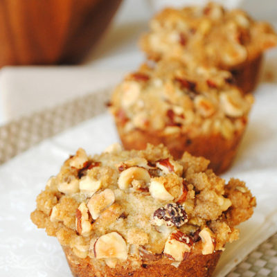 Banana and Chocolate Chip Muffins with Hazelnut Crumb Topping