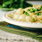 Pea and Pearl Onion Pasta in Butter Herb Sauce