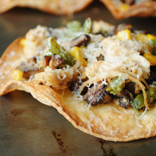 Chicken and Mushroom Tostadas
