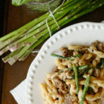 Gemelli with Asparagus and Sausage in a Ricotta Cheese Sauce