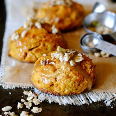 Pumpkin Cream Cheese Scones with Brown Sugar and Honey Glaze