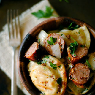 Grilled Pierogies and Kielbasa with Mustard Vinaigrette