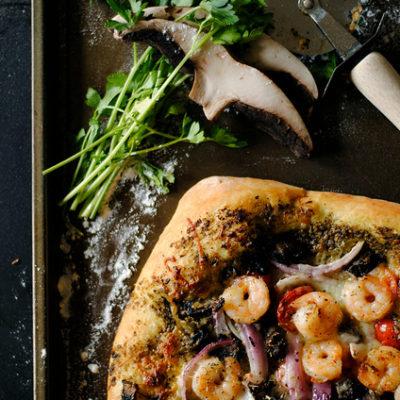 Shrimp, Pesto, and Mushroom Pizza