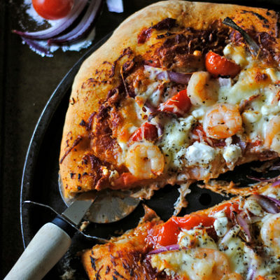 Shrimp and Goat Cheese Pizza