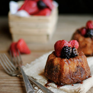 Mini Fruit and Chocolate Bundt Cakes with Chocolate Cream Cheese Glaze
