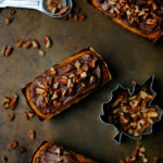 Mini Pumpkin Cakes with Chocolate Frosting and Pecans