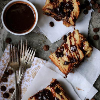 Challah Chocolate Bread Pudding with Chocolate Ganache