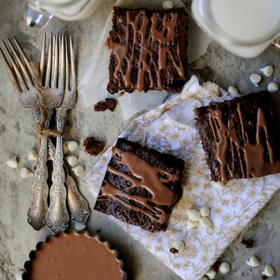 Brownies with White Chocolate Chips and Chocolate Drizzle