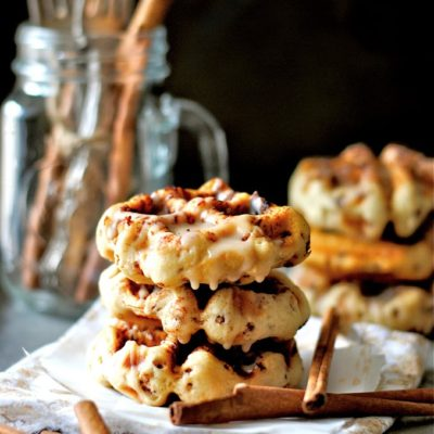 Cinnamon Roll Waffles with Cinnamon Drizzle