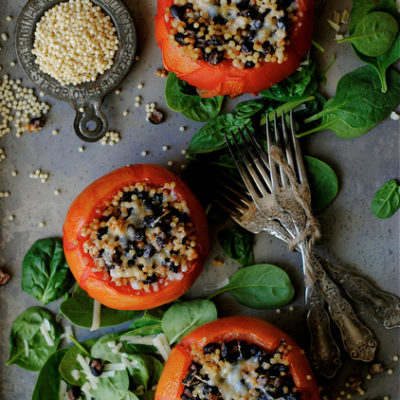 Spicy Couscous and Black Bean Stuffed Tomatoes