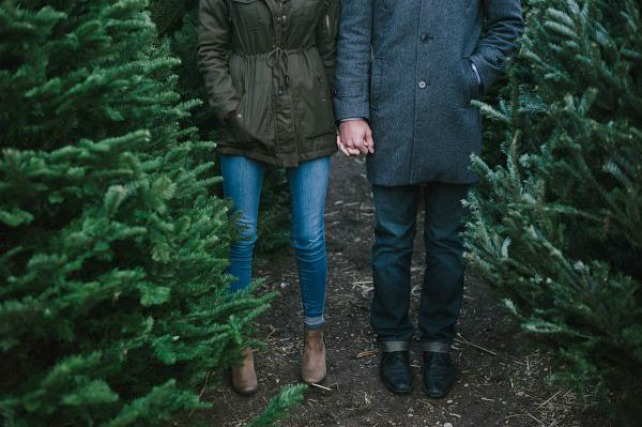 couple christmas tree farm