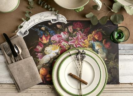 vibrant floral placemat