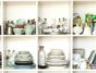Food Photography Props. Ceramics And Kitchen Equipment On Shelves