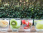 Variety fruit infused water with iced stock photo