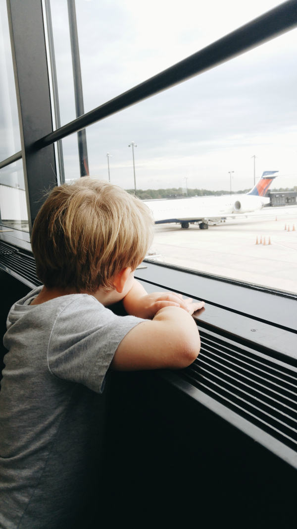 ooking at the airplanes