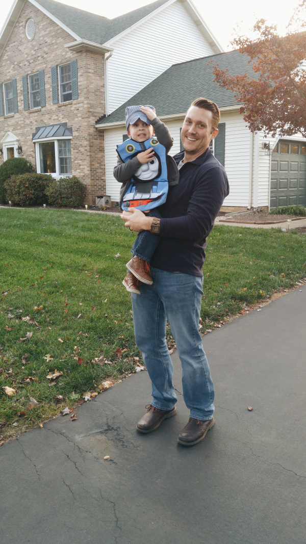 Getting ready to go trick-or-treating with Uncle Kiel