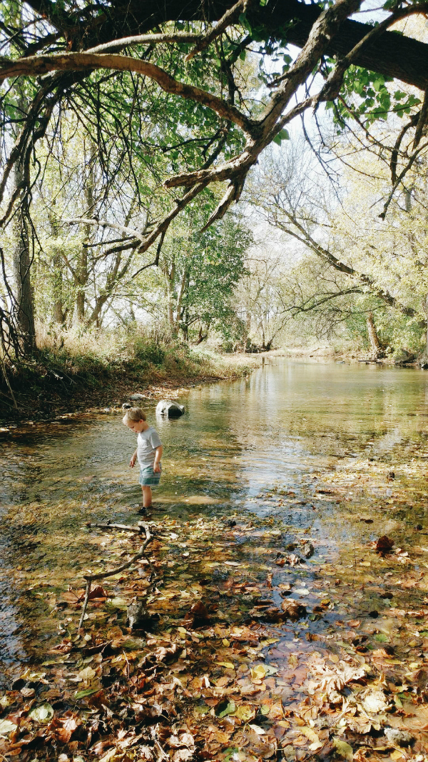 Playing in the backyard river