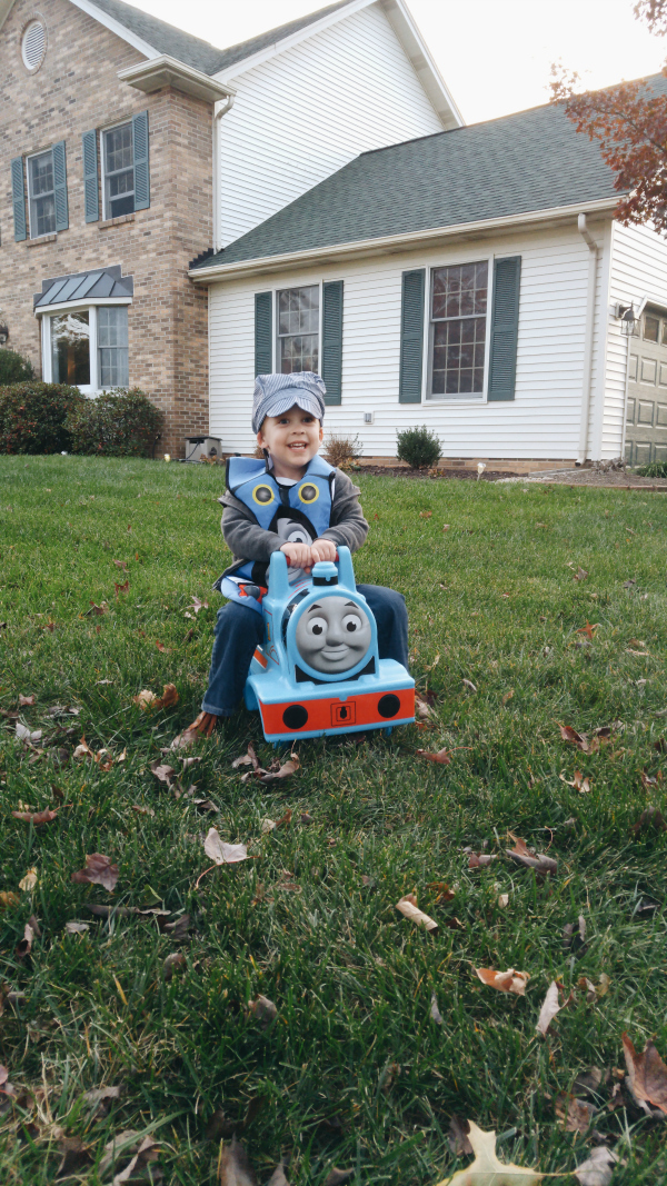 Dressing up as Thomas the Train for Halloween
