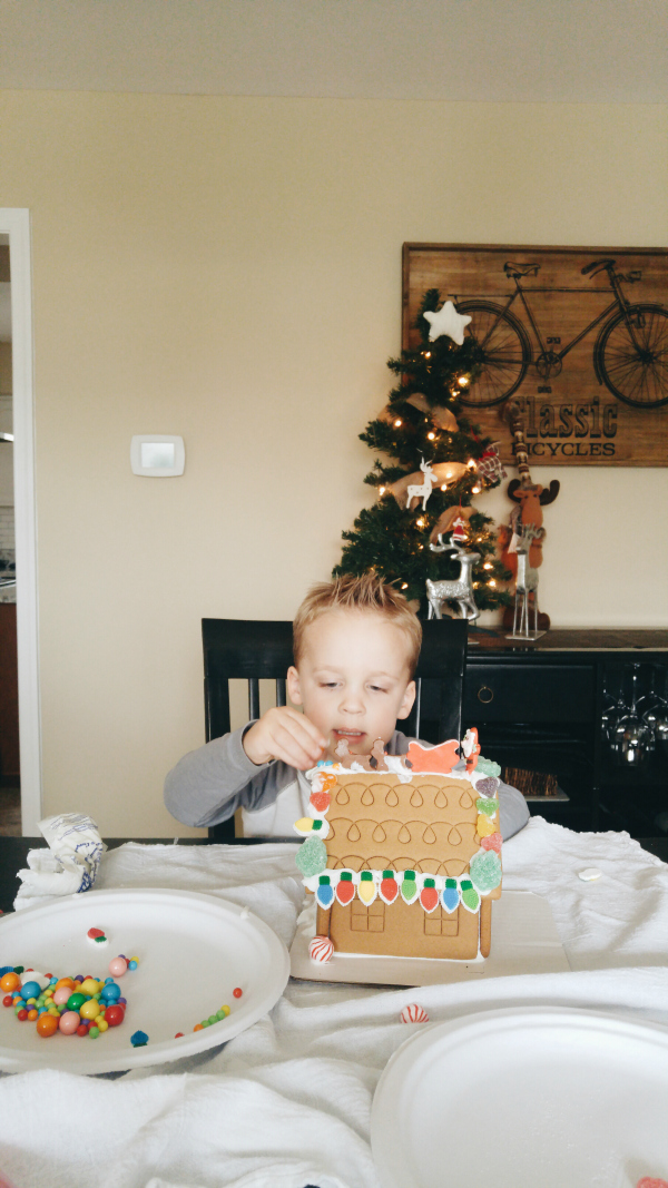 Making his first gingerbread house