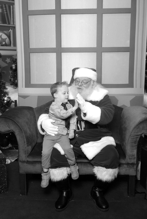 Giving Santa a high-five