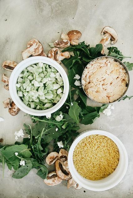 Tuna, Orzo, and Goat Cheese Arugula Salad