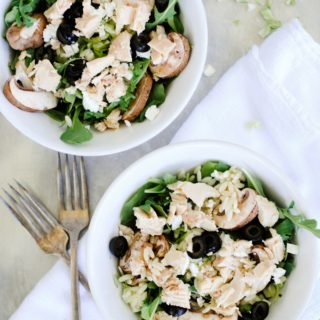 Tuna, Orzo, and Goat Cheese Arugula Salad