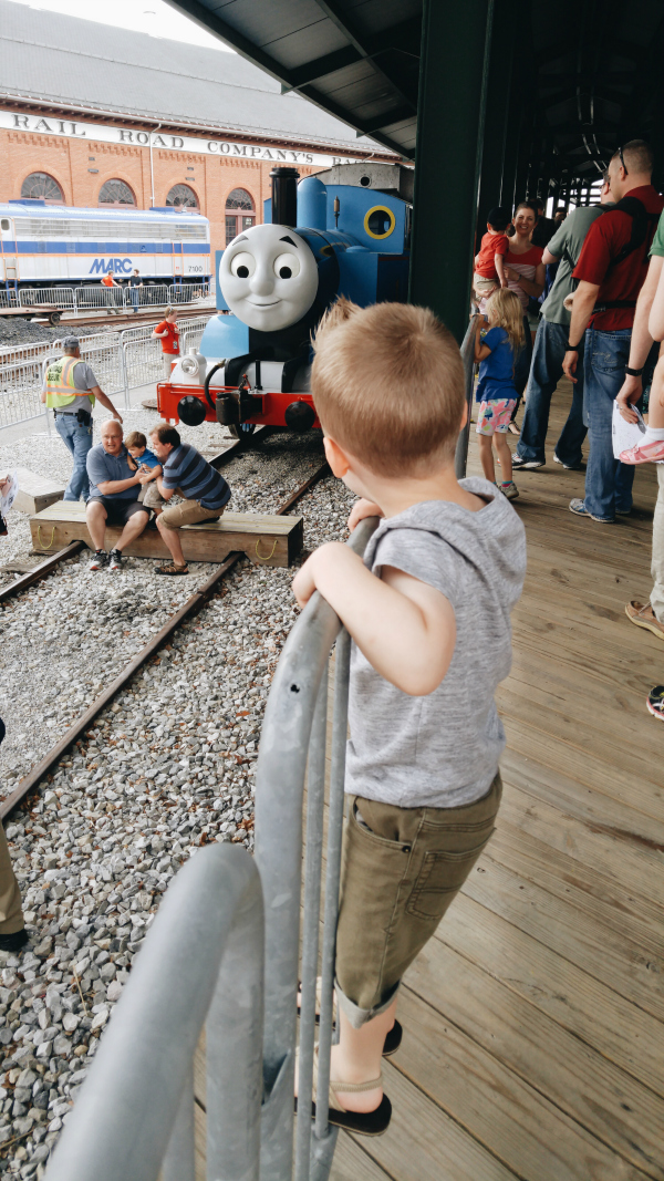 getting a sneak peek at Thomas the Train