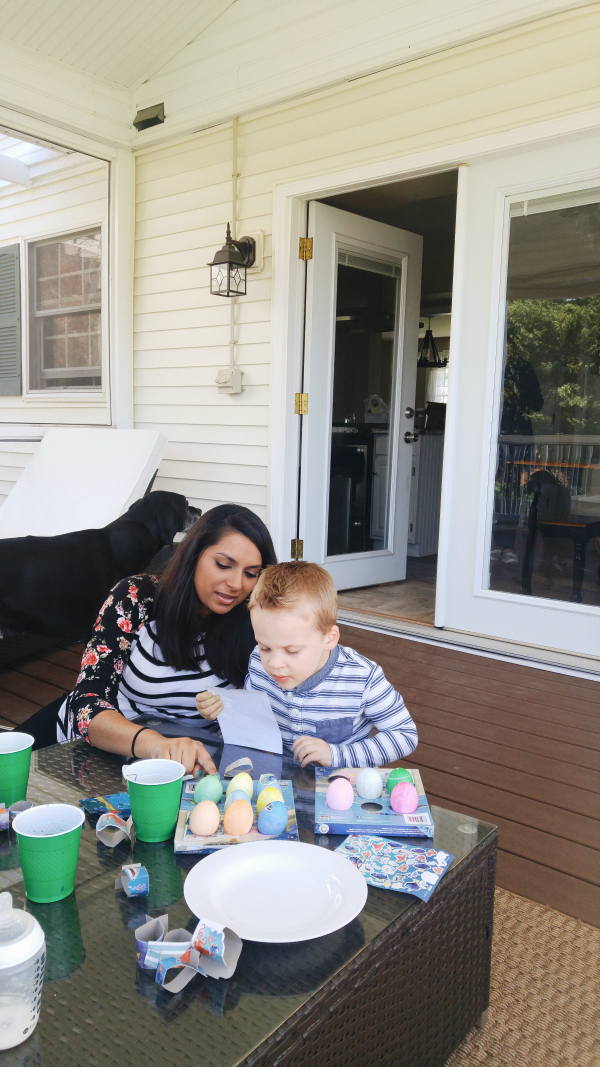 dyeing Easter eggs with Auntie Asha