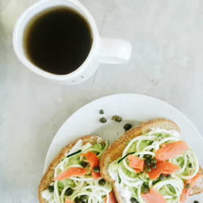 Avocado Toast with Smoked Salmon and Zoodles