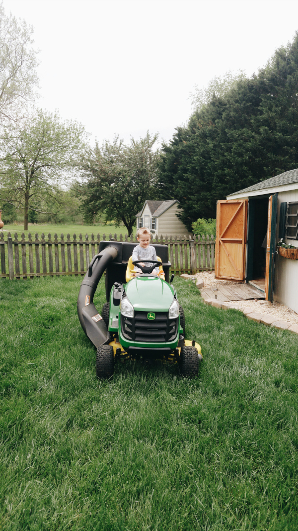 having fun on dada's tractor
