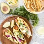 Grilled Spicy Shrimp Tacos with Avocado Mango Salsa and Chipotle Mayo
